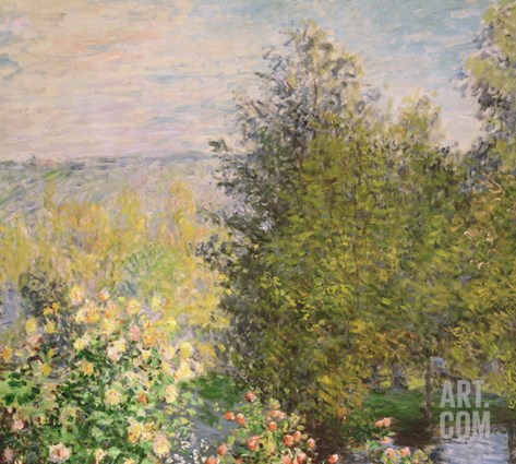 A Corner of the Garden at Montgeron, 1876-7 Stretched Canvas Print