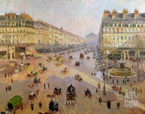 The Avenue De L'Opera, Paris, circa 1880 Stretched Canvas Print
