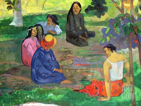 Les Parau Parau (The Gossipers), or Conversation, 1891 Stretched Canvas Print