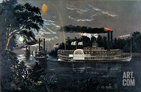 Rl 27835 Rounding a Bend on the Mississippi Steamboat Queen of the West Stretched Canvas Print