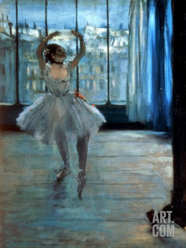 Dancer in Front of a Window (Dancer at the Photographer's Studio) circa 1874-77 Stretched Canvas Print