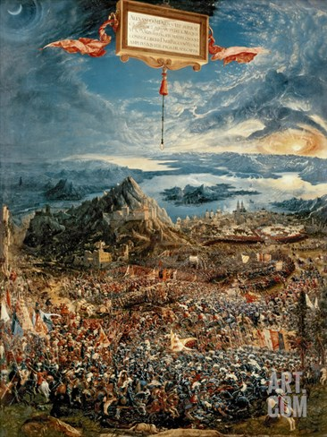 The Battle of Issus, or the Victory of Alexander the Great, 1529 (Oil on Panel) Stretched Canvas Print