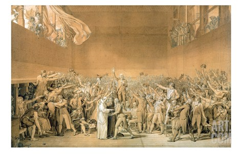 The Oath of the Tennis Court, 20 June 1789, 1791 (Grisaille Sketch) Stretched Canvas Print