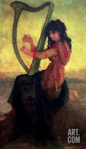 Muse Playing the Harp Stretched Canvas Print