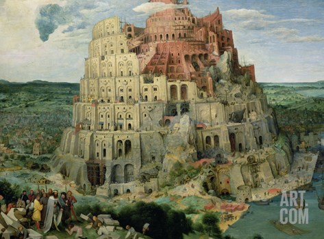 The Tower of Babel, c.1563 Stretched Canvas Print
