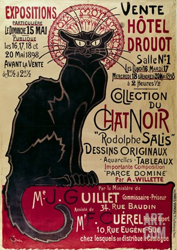 Poster Advertising an Exhibition of the Collection Du Chat Noir Cabaret at the Hotel Drouot, Paris Stretched Canvas Print