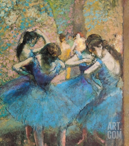 Dancers in Blue, c.1895 Stretched Canvas Print