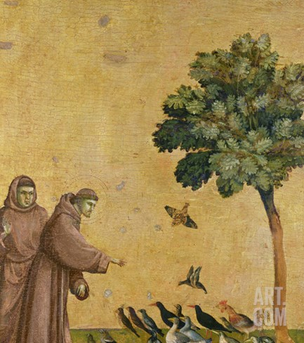 St. Francis of Assisi Preaching to the Birds Stretched Canvas Print