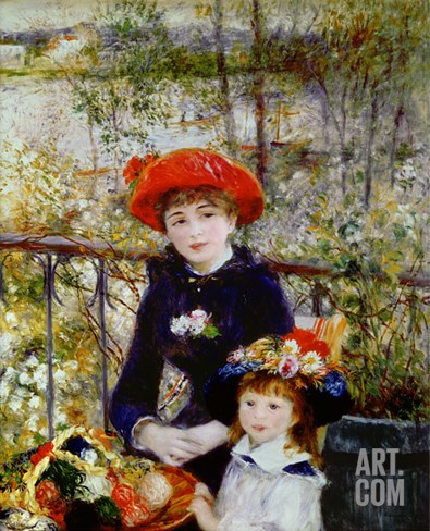 Two Sisters, or on the Terrace, 1881 Stretched Canvas Print