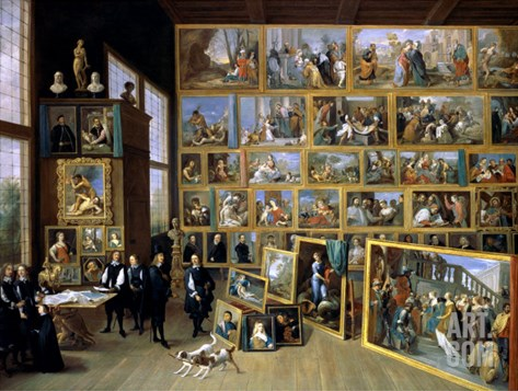 The Archduke Leopold Wilhelm (1614-62) in His Picture Gallery in Brussels, 1651 Stretched Canvas Print