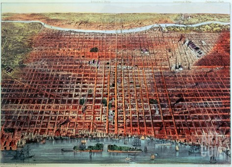 General View of Philadelphia, 1875 Stretched Canvas Print