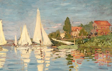 Regatta at Argenteuil, C.1872 Stretched Canvas Print