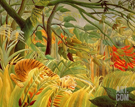 Tiger in a Tropical Storm (Surprised!) 1891 (Oil on Canvas) Stretched Canvas Print