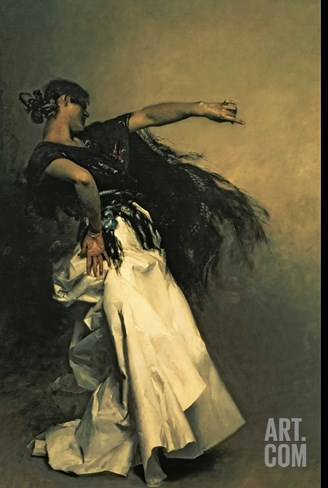 The Spanish Dancer, Study for &quot;El Jaleo,&quot; 1882 Stretched Canvas Print