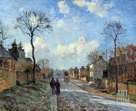 The Road to Louveciennes, 1872 Stretched Canvas Print