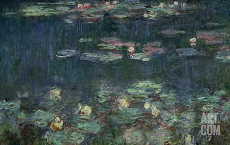 Waterlilies: Green Reflections, 1914-18 (Right Section) Stretched Canvas Print