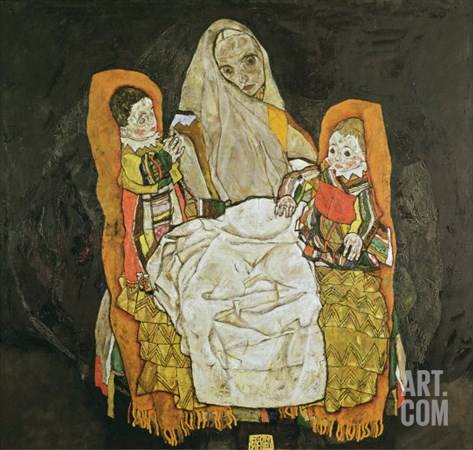 Mother with Two Children, 1917 Stretched Canvas Print