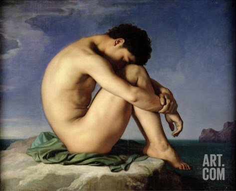 Naked Young Man Sitting by the Sea, 1836 Stretched Canvas Print