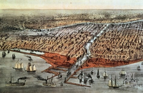 Chicago as it Was, circa 1880 Stretched Canvas Print