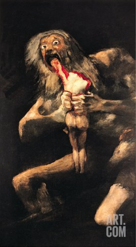 Saturn Devouring One of His Children, 1821-23 Stretched Canvas Print