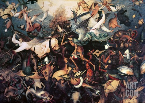 The Fall of the Rebel Angels, 1562 Stretched Canvas Print