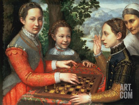 Game of Chess, 1555 Stretched Canvas Print