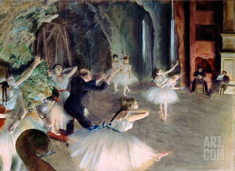 The Rehearsal of the Ballet on Stage, circa 1878-79 Stretched Canvas Print
