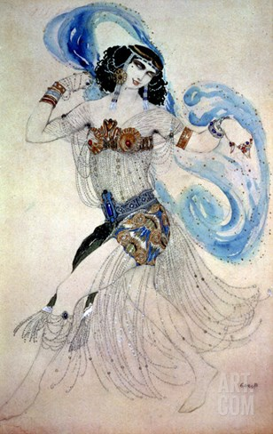 "Costume Design for Salome in ""Dance of the Seven Veils,"" 1908 Stretched Canvas Print"