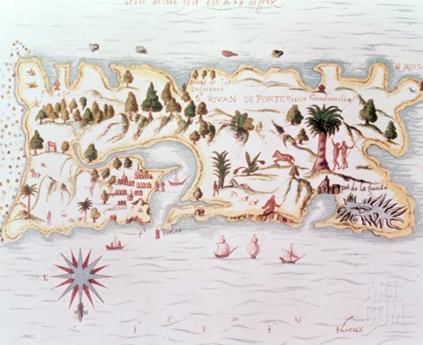 Map of the Island of Puerto Rico, 1599 Stretched Canvas Print