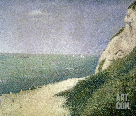 Beach at Bas Butin, Honfleur, 1886 Stretched Canvas Print
