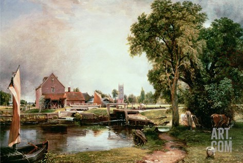 Dedham Lock and Mill, 1820 Stretched Canvas Print