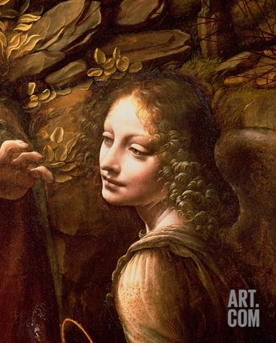 The Virgin of the Rocks (The Virgin with the Infant St. John Adoring the Infant Christ) Stretched Canvas Print