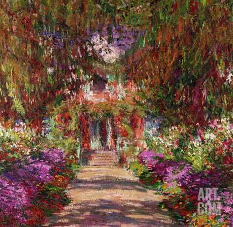 A Pathway in Monet's Garden, Giverny, 1902 Stretched Canvas Print