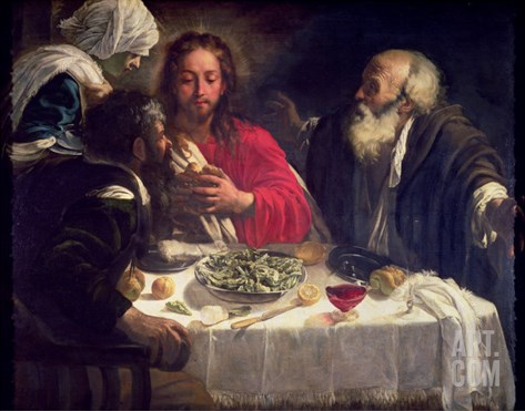 The Supper at Emmaus, circa 1614-21 Stretched Canvas Print