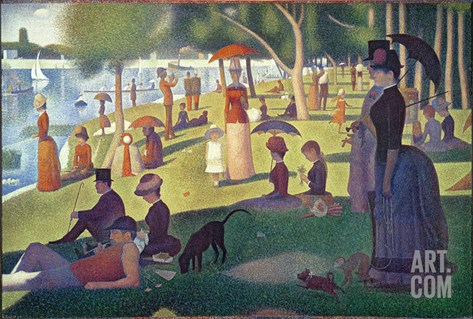 Sunday Afternoon on the Island of La Grande Jatte, c.1886 Stretched Canvas Print