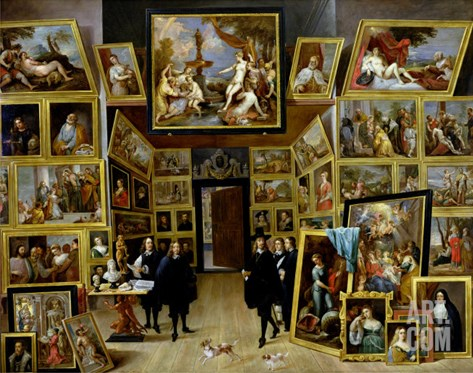 Archduke Leopold Wilhelm (1614-61) in His Picture Gallery, circa 1647 Stretched Canvas Print