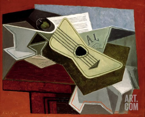 Guitar and Newspaper, 1925 Stretched Canvas Print