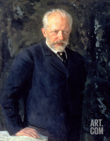 Portrait of Piotr Ilyich Tchaikovsky (1840-93), Russian Composer, 1893 Stretched Canvas Print