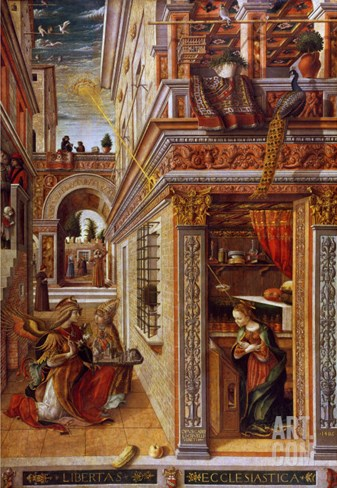 The Annunciation with St. Emidius, 1486 Stretched Canvas Print
