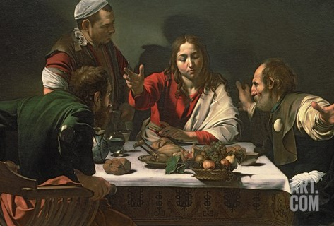 The Supper at Emmaus, 1601 Stretched Canvas Print