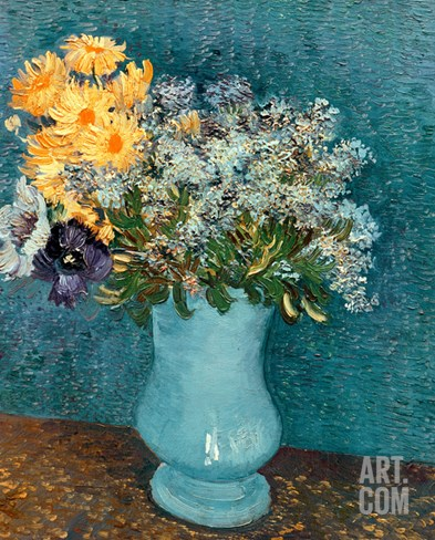 Vase of Lilacs, Daisies and Anemones, c.1887 Stretched Canvas Print