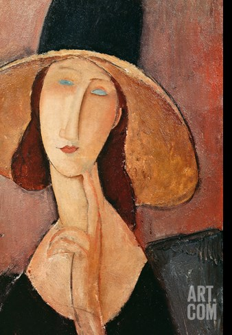 Portrait of a Woman (Jeanne Hébuterne) in Large Hat, c.1918 Stretched Canvas Print