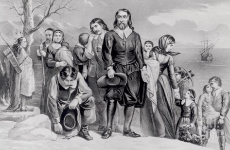 The Landing of the Pilgrims at Plymouth, Mass. Dec. 22nd, 1620, Pub. 1876 Stretched Canvas Print