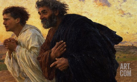 The Disciples Peter and John Running to Sepulchre on the Morning of the Resurrection, circa 1898 Stretched Canvas Print