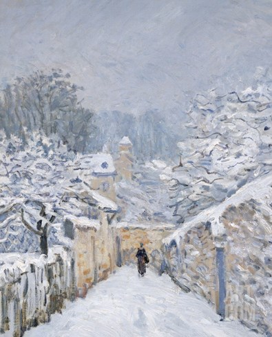 Snow at Louveciennes, 1878 Stretched Canvas Print