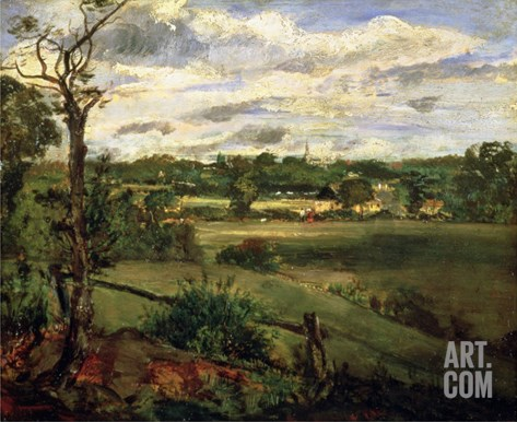 View of Highgate from Hampstead Heath, circa 1834 Stretched Canvas Print