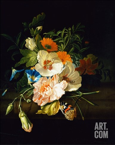 A Carnation, Morning Glory and Other Flowers by Rachel Ruysch Stretched Canvas Print