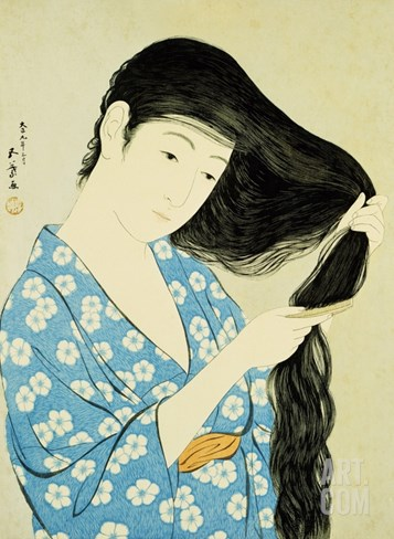 A Half-Length Portrait of a Beauty Combing Her Hair Stretched Canvas Print