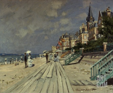 Beach at Trouville Stretched Canvas Print