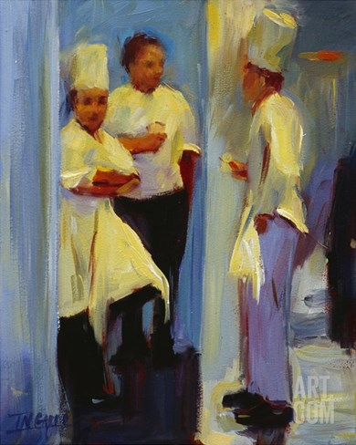 Chefs in Paris Stretched Canvas Print